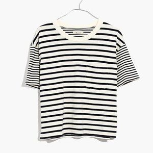 Madewell Easy Crop Tee in Stripe-Mix